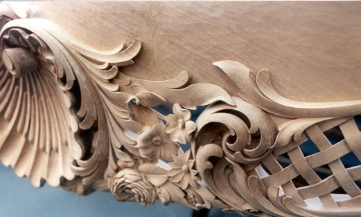 Hand Carved French Baroque Table In Basswood