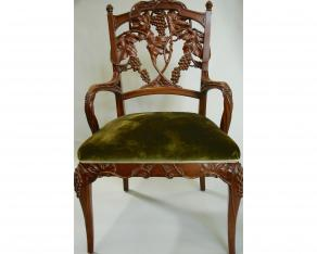 Mahogany Chairs with Grapevine Motif