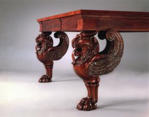 Mahogany Carved Lion Head Table Legs