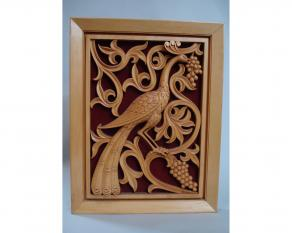 Basswood Panel Peacock and Grapes
