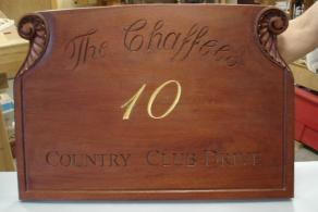 Mahogany House Number Sign