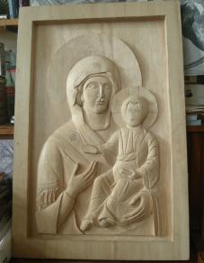 Mother and Child Carved in Basswood